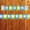 Bandera de papel colgante del feliz cumpleaños de las banderas del indicador