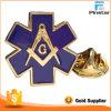 Сформированный звездочкой значок мака металла покрынный золотом Masonic