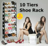 10 Reihen für 30 Pairs Shoes Metal Pipes Plastic Frame Shoe Racks