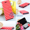Plutônio Leather Folio Book Argumento Cover de Stand Polka DOT da aleta para New I Phone 5 5g