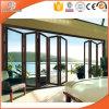 Aluminiumlegierung-Balkon-Tür schieben, Duable thermischer Bruch-Bi-Faltende Aluminiumtür, Aluminiumblatt gemildert/Hartglas-Tür
