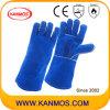 الأزرق جلد البقر انقسام قفازات لحام العمل الصناعية (11114)