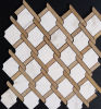 Marmorentwurf Basketweave geformtes Brown weißes Steinmosaik