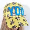 未加工端のアップリケ刺繍の本革ストラップの野球帽
