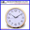 Horloge de mur en plastique ronde d'impression de logo de trame d'or (Item12)