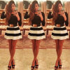 Hot Selling Black-White Striped Mini Dress