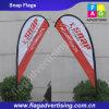 Côté simple et doubles drapeaux latéraux de larme de vol de plage de polyester