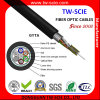 Cable de fibra óptica Luz-Acorazado trenzado unimodal al aire libre al aire libre del tubo flojo de 48 memorias del cable GYTS de la cinta del tubo flojo de acero de la capa