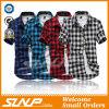 2016 고품질 남자의 격자 무늬 간결 소매 t-셔츠