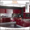 Móveis de gabinete de cozinha de lata de pintura a assar alto e alto brilho vermelho