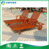 Drinks Tray Wood Lay Flat 일요일 Bed (FY-035CB)를 가진 Wooden 선회된 정원 일요일 Lounger