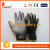 Черное Nylon запястье руки Knit перчаток, серый PU покрытый на ладони/персте (DPU118)