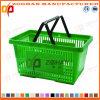 Panier à provisions en plastique personnalisé de traitement de supermarché double (Zhb30)