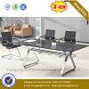 正方形の事務机の金属の足のオフィス用家具の現代ガラス会合表(NS-GD051)