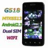 G518アンドロイド2.3 Mtk6513 WiFiデュアルバンドの二重SIMの人間の特徴をもつスマートな電話