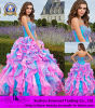 ひだを滝のように落とすハンドメイドの贅沢なプロムの服の夜会服の実物大の背部が開いた恋人の青いピンクのオーガンザは2014枚の方法服にアップリケをつける
