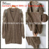 2015 otoño y acción de vestir hecha punto rebeca empalmada funda larga superior de la piel del V-Cuello de las señoras de la manera del invierno (SK398)