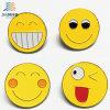 Contactos de encargo de la solapa de Emoji del metal del color del amarillo de la divisa de la insignia del esmalte de la venta caliente
