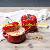 Potenciômetro vermelho do esmalte do tomate dos potenciômetros da sopa louça Único-Seguram/duas ferramentas da cozinha do potenciômetro das orelhas