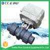 Vávula de bola motorizada eléctrica plástica bidireccional del PVC de Dn20 3/4  12V 24V