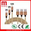 Micr3ofono al cable de datos de carga trenzado de nylon de la sinc. del cable del USB un varón al cable micro de la carga de B