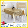 O PVC do vinil dourado e grava o Tablecloth no rolo