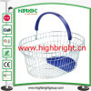 Handle di plastica Metal Wire Shopping Basket con Plastic Tray