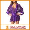 Robe intime pourpre Ksu3251 de chemises de nuit de robe de nuit de robe longue de vêtements de nuit de lingerie de femmes de mode de satin de lacet sexy de robe longue