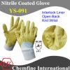 Блокировка перчатка с желтой Нитриловое покрытие & открытой спиной и вязать наручные / EN388: 4111 / Размер 7 , 8, 9 , 10 (YS-091)