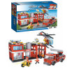 Station de pompiers en plastique Building Block Motor Toy Fire Truck Helicopter