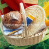 음식은 자연적인 색깔 뚜껑을%s 가진 고리 버들 세공 빵 바구니를 저장한다