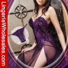 Ropa interior atractiva de la alineada larga transparente púrpura del cordón de las mujeres