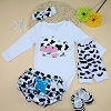 Baby Clothes Cute Cow Print und Ruffled Short Pants, Legging Warm, Infant Shoes, Handband 5PCS