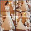 Blosses Boot-Ansatz Nixe-Spitze V-Back Hochzeits-Kleid W13231