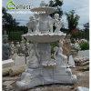 Белой мраморный высеканный рукой фонтан пруда воды сада скульптуры