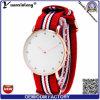 Reloj de pulsera de nylon clásico de la correa de las señoras del diamante del reloj de la mujer ultra delgada de Yxl-224