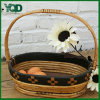 Hand Shank를 가진 Balck Side Oblong Storage Wicker Basket