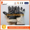 牛穀物の黒の家具の白い綿背部冬の手袋(DLH108)