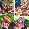 Umweltfreundlicher kundenspezifischer rechteckiger gedämpfter Weide-Picknick-Korb