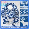 Dames Winter Reindeer Jacquard Scarf pour Christmas (FS5219)