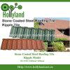 Tuile de toiture en acier enduite de pierre colorée de la Chine (tuile d'ondulation)