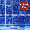 4  x4  Wave Pattern Cobalt Blue Porcelain Swimming Pool Tile (BCP604)