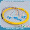12 coleta óptica de la fibra del manojo del solo modo de la base LC/Upc