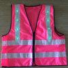 Veste reflexiva da segurança da cor-de-rosa quente do estilo com diodo emissor de luz verde