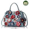 2017 Nieuwe Stijl 100% Echte Modieuze Dame Shoulder Bags van de Handtas van het Leer met Kleurrijke Bloem Emg5049