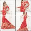 Vestidos formais T92440 do baile de finalistas longo vermelho da noite da sereia do laço das luvas do bordado