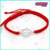 Nettes preiswertes Zink-Legierungs-Silber-Charme-rotes Seil-Armband