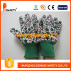 Gants verts Dgk514 de jardin de poignet de Knit de vert de configuration de fleur de coton
