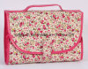 Mirror及びRound Bag Insideの花のPrint Travel Toiletry Wash Cosmetic Bag