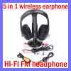 5 in 1 HifiTV Audio van PC van Radio Monitor van de FM van Wireless Headphone Earphone Headset MP4 (SL-E05)